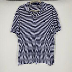 Polo | Size XL. White/Blue Stripe Polo
